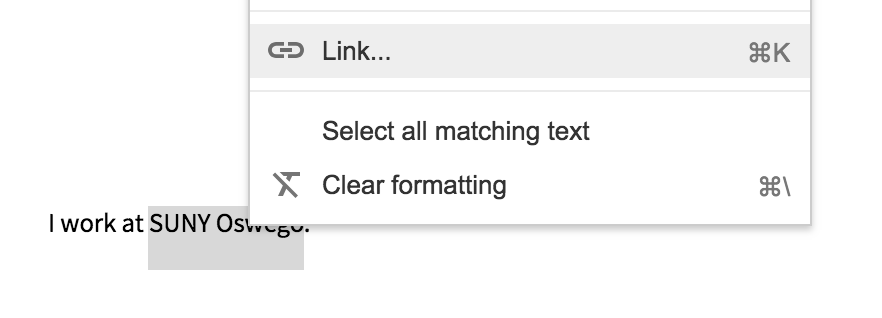 Right click on text top open the options menu and choose Link
