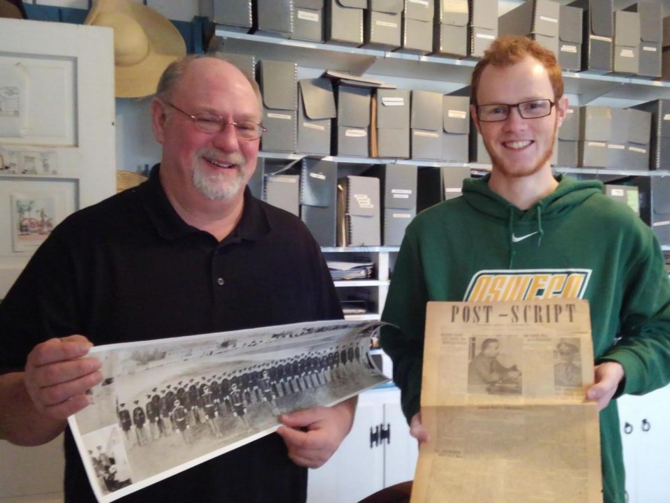 Fort Ontario intern James Bachman with site supervisor Paul Lear