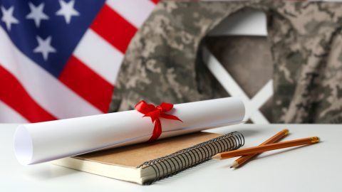 American flag with diploma