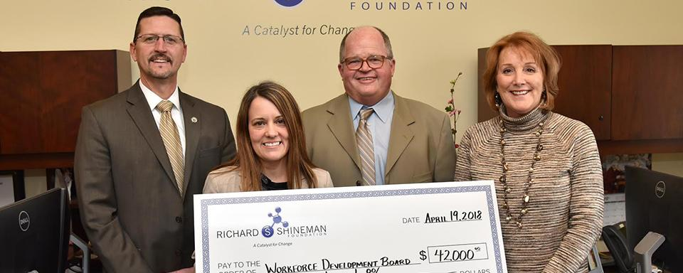 Richard Shineman Foundation Providing a check of $42,000 to Workforce Development Board on April 18,2018